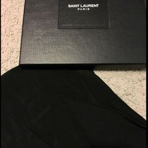 Yves Saint Laurent Black Silk Skinny Scarf